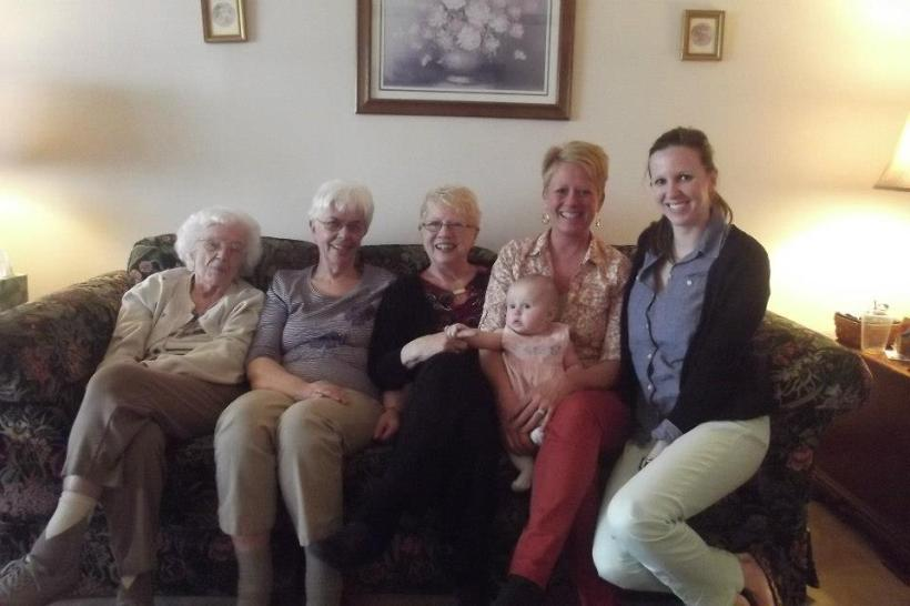 The ladies: Great Great Grandma Markwith, Great Grandma Pat and Deeda, Nana, Mom & Charlotte.