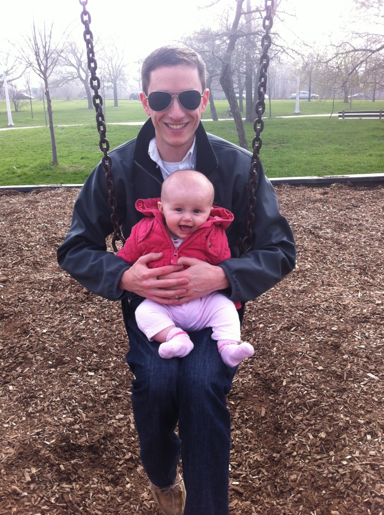 See! Lots of park time -- swinging with her Daddy.