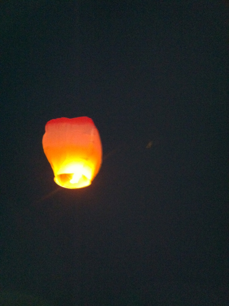 At home, we let off a paper lantern.