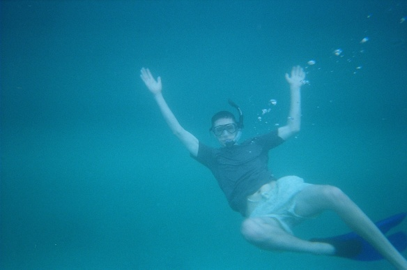 Snorkeling in the deep blue sea.