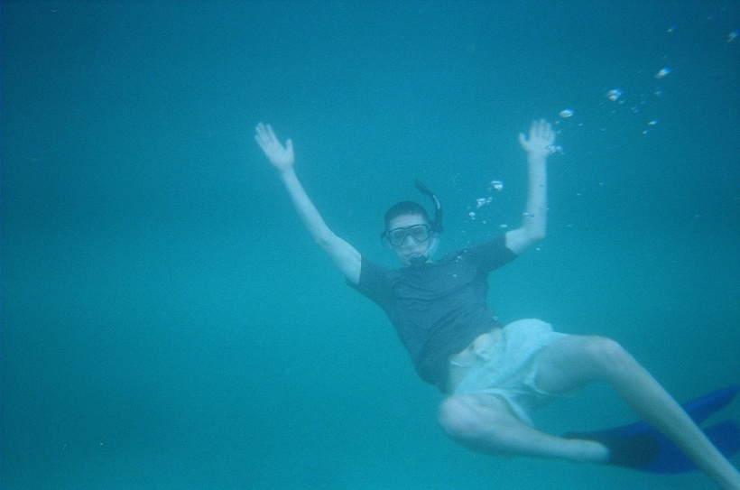 Snorkeling in the deep blue sea.