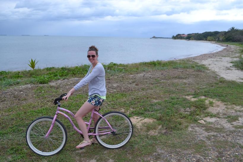 Riding bikes around Belize.