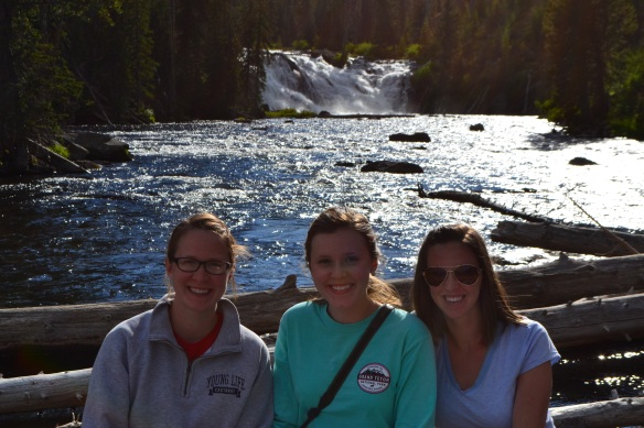 Lewis Falls in Yellowstone Park with two of my sisters.