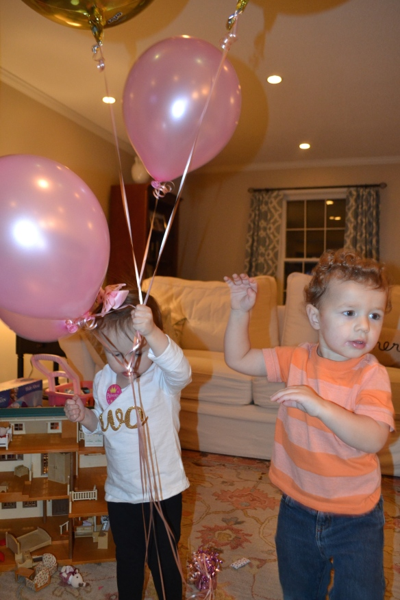 Jack and Charlotte experienced their most epic showdown over the balloons. It was a great way to end the night -- the sounds of murder in our living room.