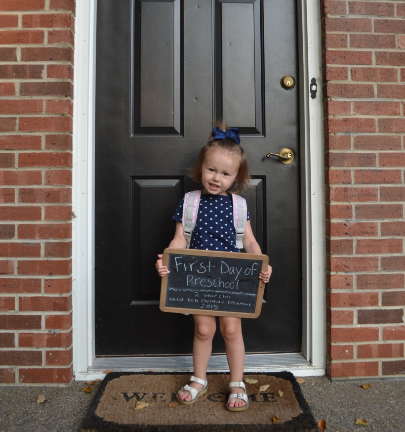 First day of Preschool. 2 year class at Hazel Dell Christian Preschool.