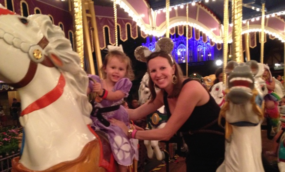 First of several rides on Prince Charming's Carousel.